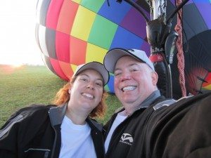 David & Brenda Getting Ready To Go Up. Our Balloon In The Background Being Inflated.
