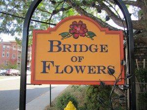 Bridge Of Flowers Sign In Shelbourne Falls, Massachusetts
