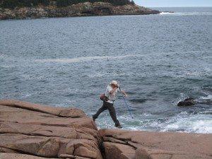 David's Action Shot, Crossing A Small Crevass.