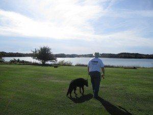 David Walking Tasha At The Campground.