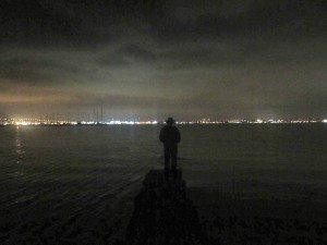David, At Nighttime, Looking Out Into The Bay