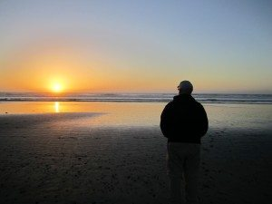 David Watching The Sun Set Over The Pacific Ocean