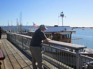 David On The Docks Checking E-Mail
