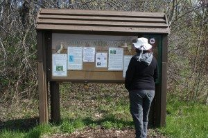 Brenda Checking Out The Braddock Bay Raptor Research Sign