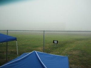Fog So Thick You Can Barely Make Out The Bleachers Across The Race Track From Us.