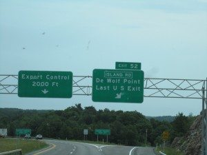 Last US Exit Sign Before Crossing Over Into Canada
