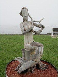 Mermaid Driftwood Sculpture In Sainte Anne des Monts.