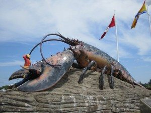 David Having Fun With The Lobster Statue