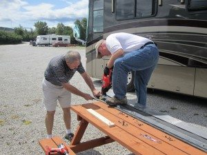 David And Curtis Working On Our Rock Guard