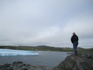 David Watching The Icebergs In Goose Cove Bay