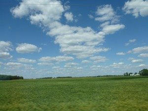 Driving Through Indiana. Beautiful Farmland Everywhere.