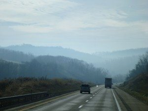 Beautiful View Of The Mountains Through WV, Burning Off The Cold Night.