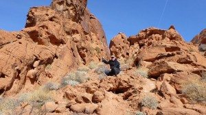 David Hiking Up The Red Rock Sandstone That Makes Up Mouse's Tank Hike