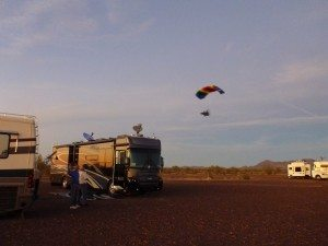 People Flying In Their Powered Parafoil Over Our Coach
