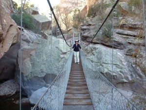 Brenda On One Of The Bridges Spanning Over The Canyon Floor