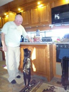 David Preparing The New Raw Food Diet For The Cats. BK Has To Help.