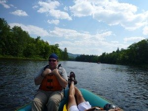 David And Joe Enjoying The Quieter Moment On The River