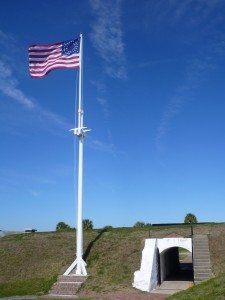 Fort Moultrie Flying The 35 Star Flag