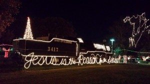 Historical Steam Engine Train In Cleburne, TX Decorated For Christmas