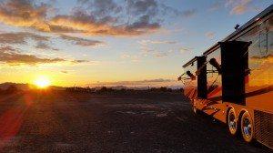Sunset At Our Coach In The Desert Around Quartzsite, AZ
