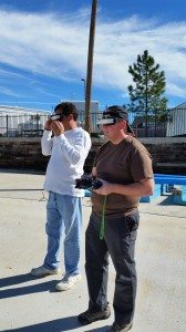 David And Ronnie Watching The Video Of The Quadcopter Through The Goggles