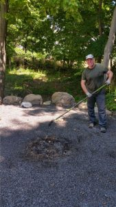 David Leveling The Fire Pit Area